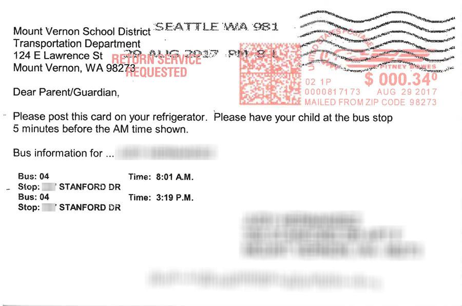 Example of transportation bus route postcard